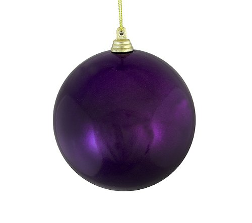 Vickerman Satin Purple Passion Shatterproof Christmas Ball Ornament, 4″