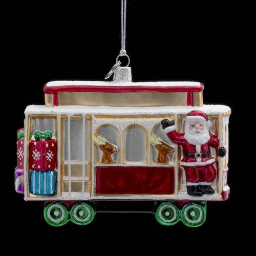 Kurt Adler 5-Inch Noble Gems Glass Christmas Cable Car Ornament