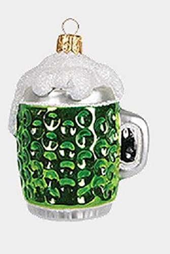 Green Irish Mini Mug of Beer Polish Mouth Blown Glass Christmas Ornament