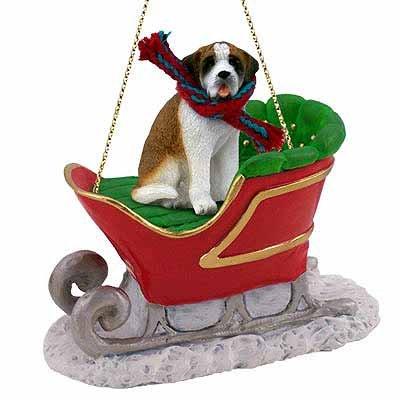 Saint Bernard Sleigh Ride Christmas Ornament Smooth Coat – DELIGHTFUL!