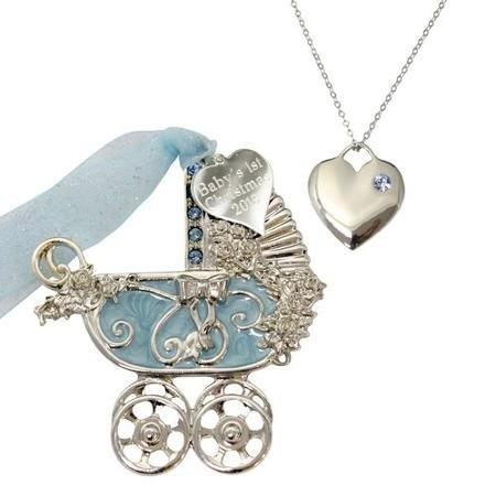 Gloria Duchin Baby Boy Christmas Ornament and Charm Pendant Necklace 18 WLM