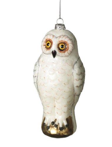 Snowy White Owl Glass Ornament