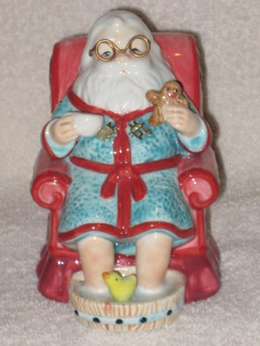 2005 Waterford Holiday Heirlooms – Santa Teatime Porcelain 5 Inch Bell