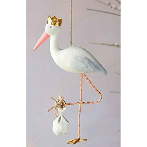 One Hundred 80 Degrees Royal Stork New Baby Hanging Ornament