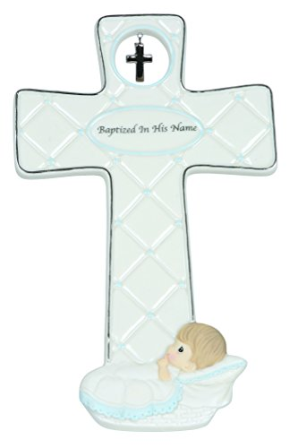 "Precious Moments, Baptism Gifts, ""Baptized In His Name"", Boy, Bisque Porcelain Cross, #143403"