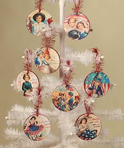 Bethany Lowe Retro Americana Images Circular Disc Ornaments – Set of 8