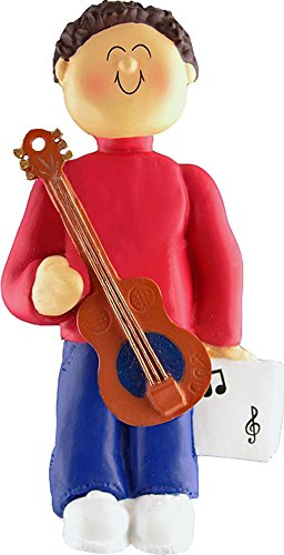 Music Treasures Co. Male Musician Accoustic Guitar Ornament (Brown Hair)
