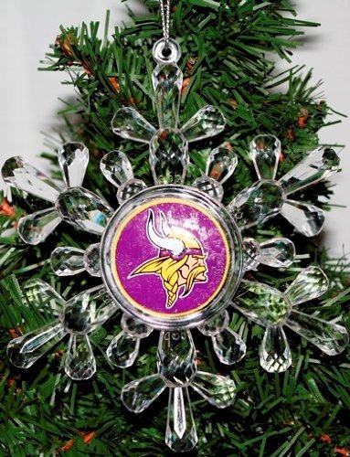 NFL Minnesota Vikings Traditional Snowflake Ornament, 4.5″ in Diameter, Clear