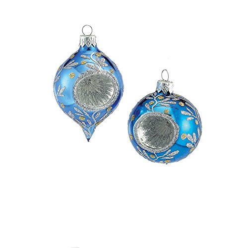 Kurt Adler Stars Round/Oval Reflector Ornament, 63mm, Blue with Glitter, Set of 4