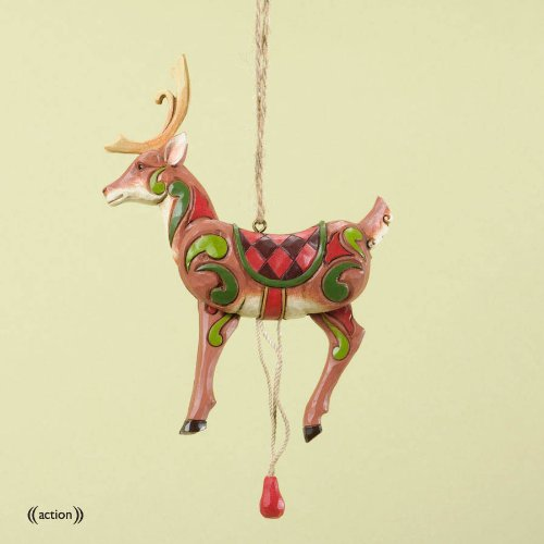 Jim Shore for Enesco Heartwood Creek Pull String Reindeer Ornament, 3.8-Inch