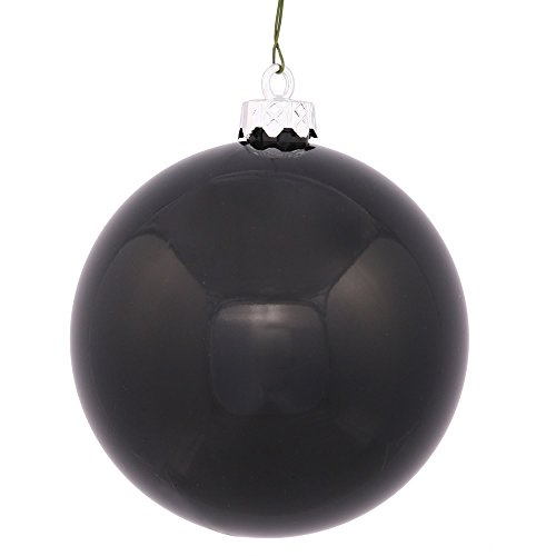 Vickerman Shiny Black UV Resistant Commercial Drilled Shatterproof Christmas Ball Ornament, 2.75″