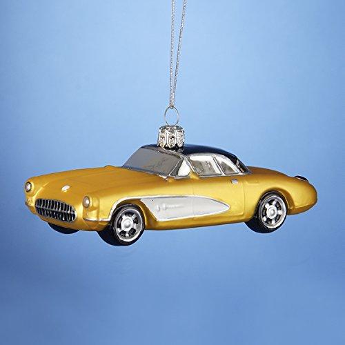 Kurt Adler 5″ Corvette Glass Yellow Car with Black Top Ornament