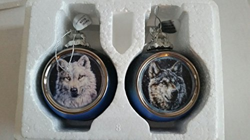 Bradford Exchange Wolf Ornaments Mystic Spirit Heirloom Porcelain Ornament Collection Silent Night and Arctic Star