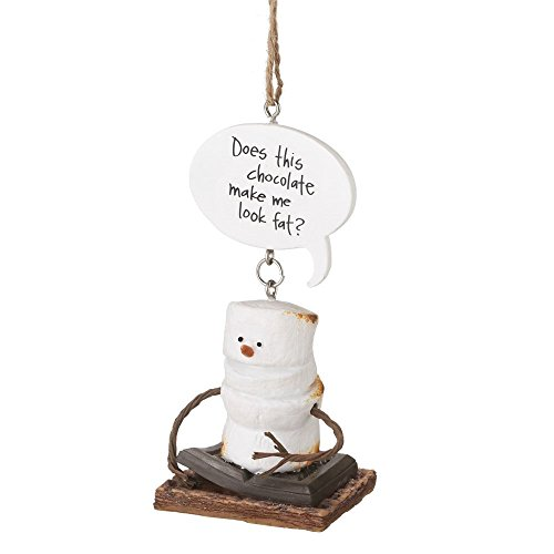 "4″ S'mores ""Does this Chocolate Make me Look Fat?"" Marshmallow Chocolate Sandwich Christmas Ornament"