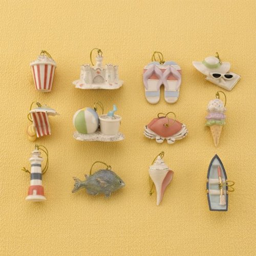 Lenox Summer Miniature Tree Ornaments Set of 12 Sea Shell Fish Sand Castle Boat Beach Ball NO TREE