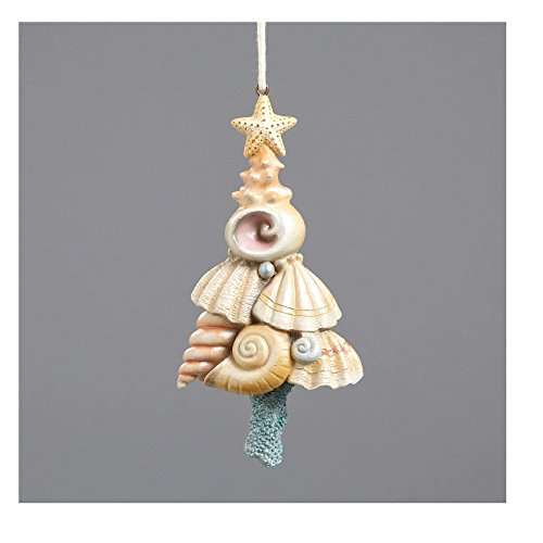 Enesco River's End Jim Shore Christmas Seashell Tree w Starfish Ornament