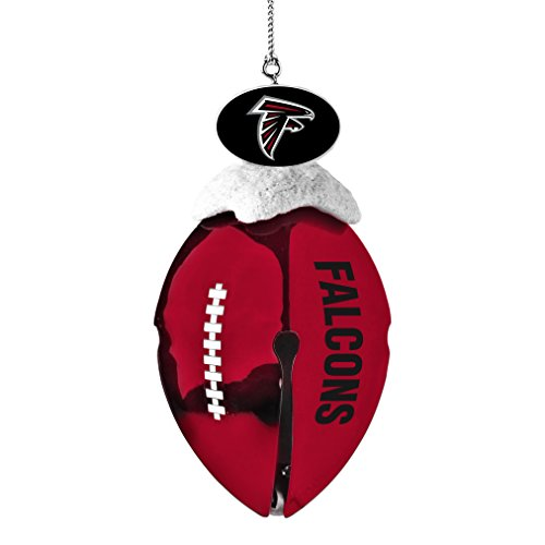 NFL Atlanta Falcons Metal Football Bell Ornament, 2″, White