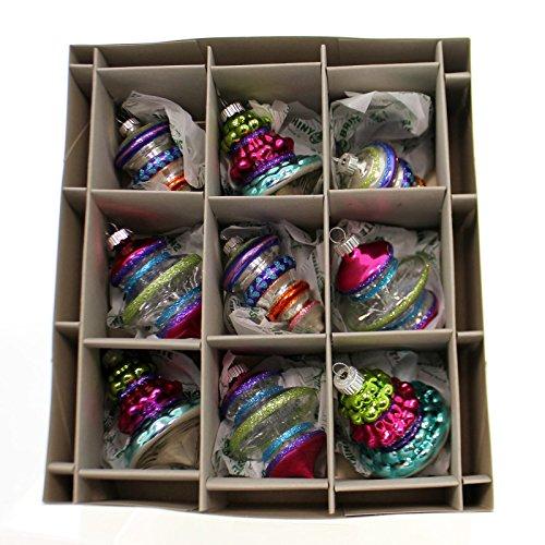 Christopher Radko SHINY BRITE CB SHAPES W/ TINSEL Ornament Set Vintage 4026790