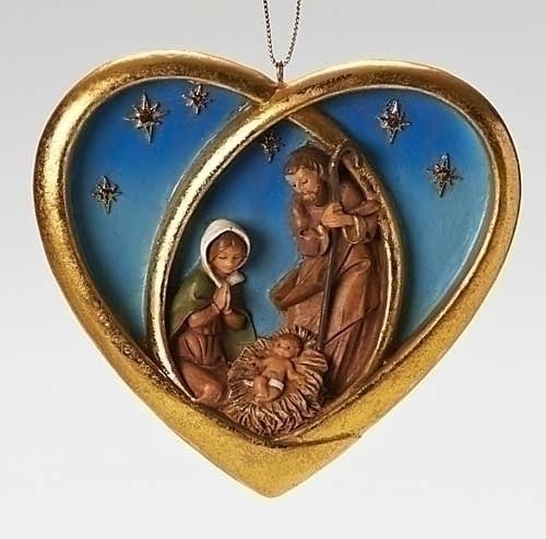 3.75″ Fontanini Heart with Holy Family Ornament by Roman
