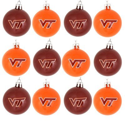 NCAA Ball Ornament (Set of 12) NCAA Team: Virginia Tech