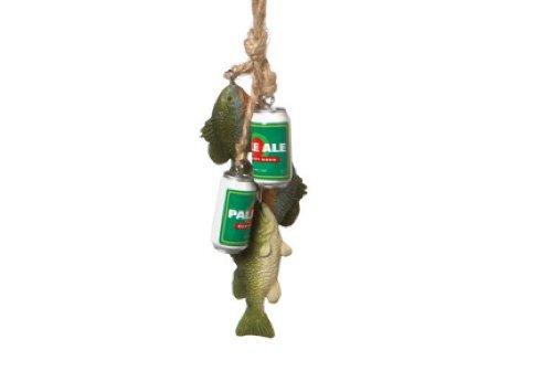 "7″ Novelty ""Fish n' Beer"" Glittered Dangle Fishing Christmas Ornament"