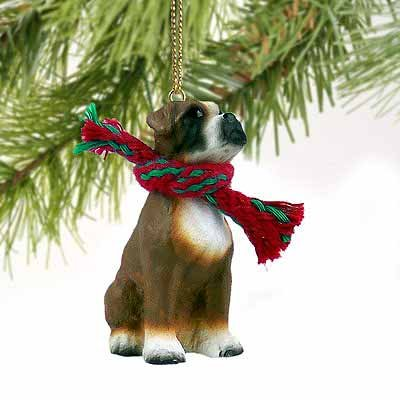 1 X Boxer Miniature Dog Ornament – Uncropped Ears