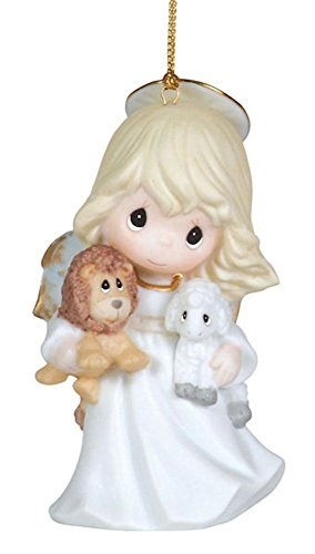 "Precious Moments Angel Holding Lion And Lamb Ornament ""Peace On Earth"""