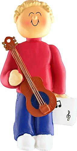 Music Treasures Co. Male Musician Accousitc Guitar Ornament (Blonde Hair)