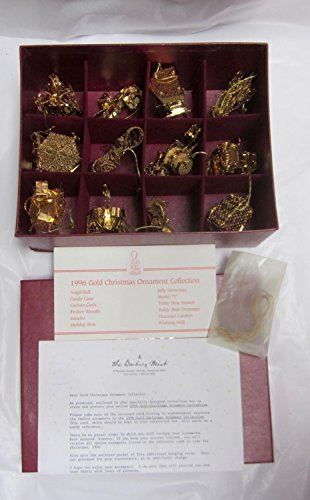 Danbury Mint 1996 23kt Gold Christmas Ornament Collection Set of 12