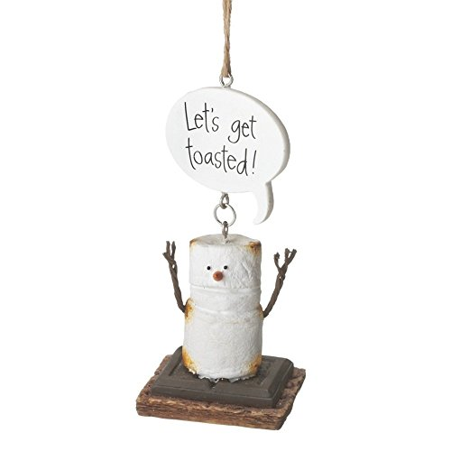 "4″ S'mores ""Let's Get Toasted!"" Humorous Marshmallow Chocolate Sandwich Christmas Ornament"
