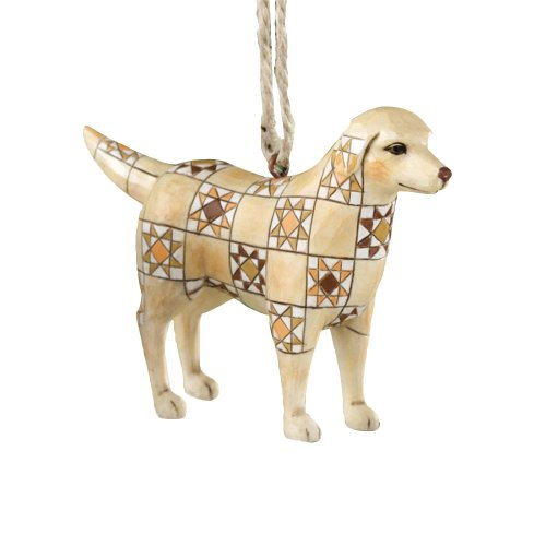 Jim Shore Heartwood Creek Golden Retriever with Quilt Pattern Hanging Ornament, 2-3/4 Inches