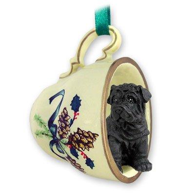 Shar Pei Black Tea Cup Green Holiday Ornament