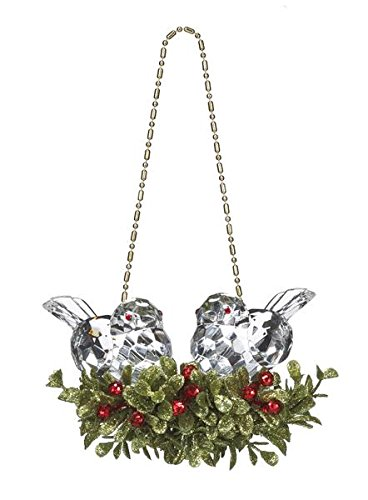 GANZ 5″ Kyrstal Kiss Ball Ornament, Double Bird Mistletoe, Clear  – Wedding Acrylic KK212