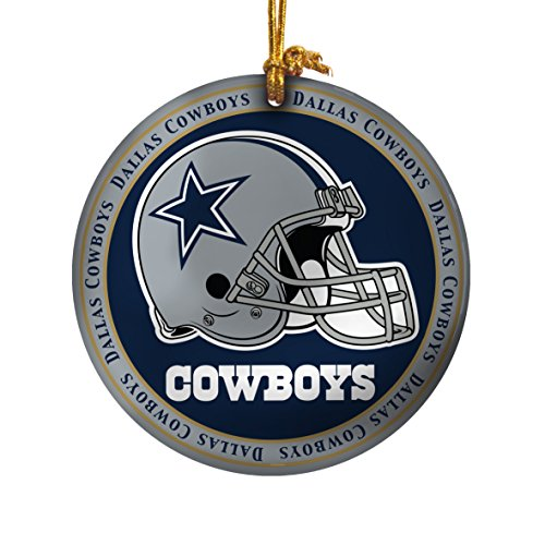 NFL Dallas Cowboys Ceramic Plate Ornament, Blue, 2.25″