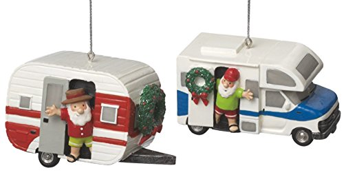 Santa in RV and Teardrop Camper Holiday Ornaments Set of 2 Midwest CBK