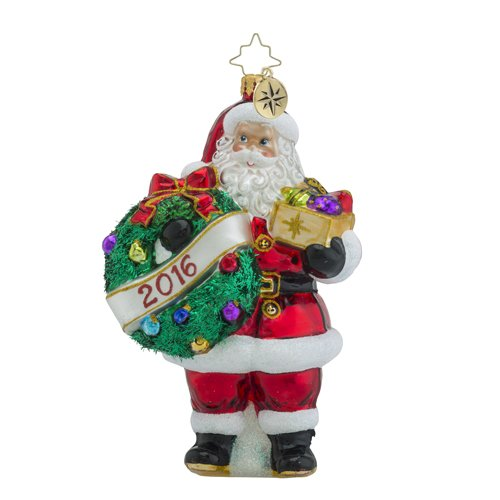 Christopher Radko Holly Jolly Year 2016 Dated 2016 Santa Claus Christmas Ornament