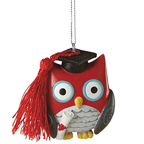2.5″ Red and Gray Wise Owl Graduation Christmas Ornament