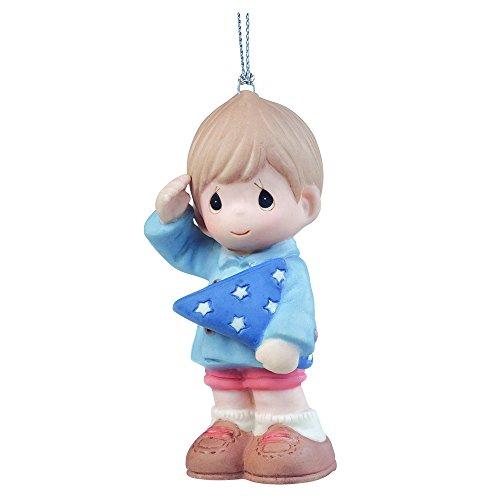 "Precious Moments, Christmas Gifts, ""You're My Hero"", Porcelain Ornament, Boy, #161065"