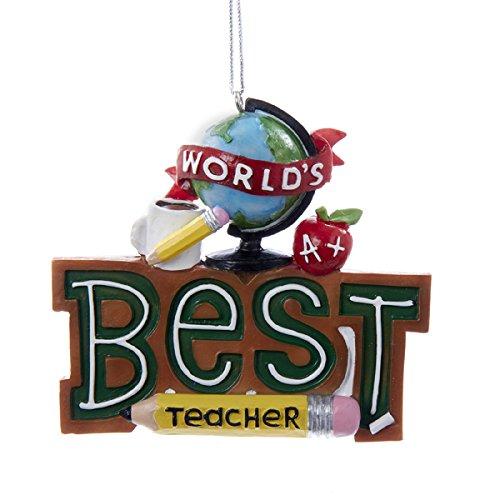 Worlds Best Teacher Christmas Holiday Ornament Resin Kurt Adler