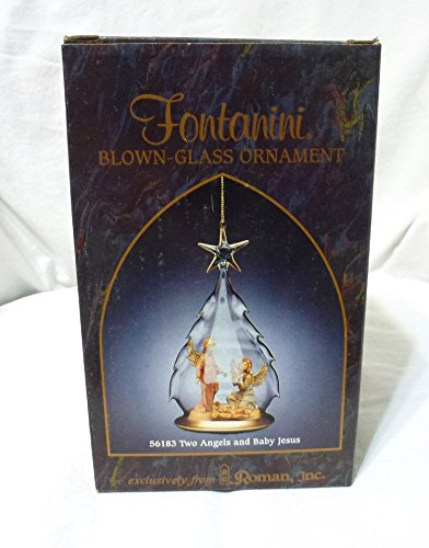 Fontanini Blown Glass Christmas Tree Ornament 56183-Angels w/Baby Jesus