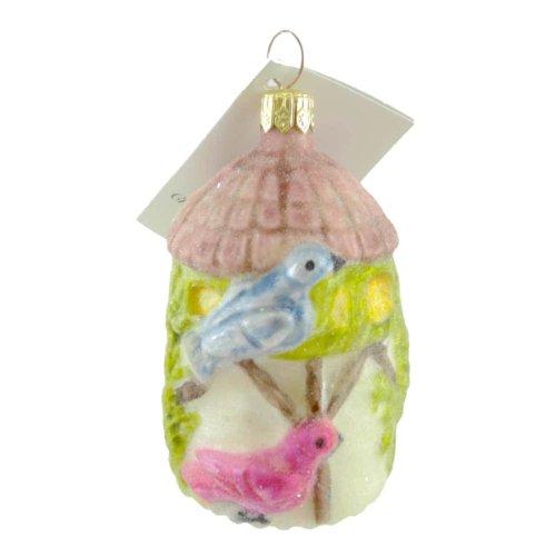 Christopher Radko BIRDHOUSE Glass Ornament Sugared Blue Bird