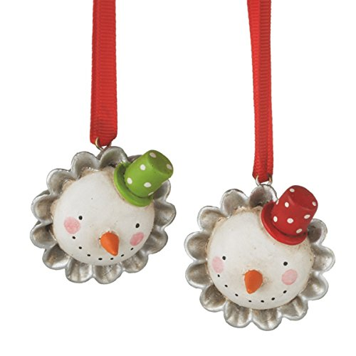 Beautifiul Soul Snowman Tart in Tin Baking Resin Christmas Ornament Set of 2