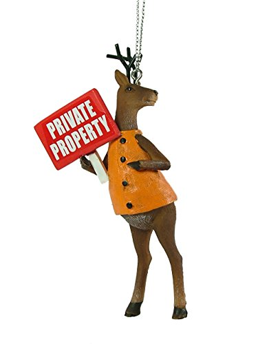 New Buck Holding Sign Private Property Gun Deer Hunter Christmas Ornament