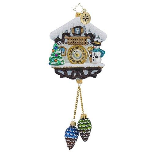 Christopher Radko Alpine Chime Time Snowmen Clock Christmas Ornament