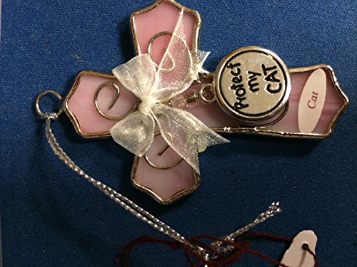 Pink Glass Cross Ornament with Protect My Cat Protect