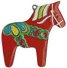 Swedish Dala Horse German Pewter Christmas Ornament by Pinnacle Peak Trading Company