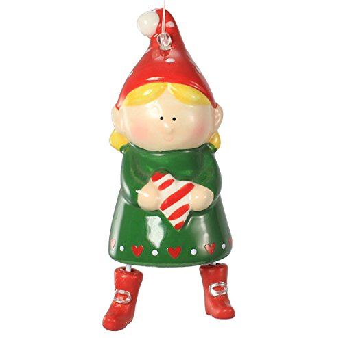 Holiday Lane Ceramic Elf with Dangling Legs Christmas Ornament