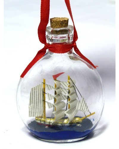 """Boat in a Bottle Ornament – Make It a Nautical Holiday – 3.75"""" X 2.75 – Not Just for Christmas, Can Be Used As a Hanging Ornament – New by Beachcombers"""