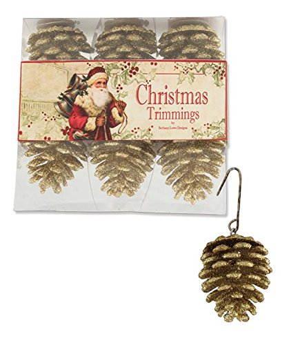 Bethany Lowe Set of Six Gold Glittered Pine Cone Ornaments