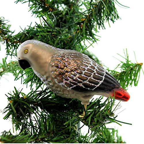 Old World Christmas AFRICAN GREY PARROT Glass Bird Clip-On Tropical Forest 18118